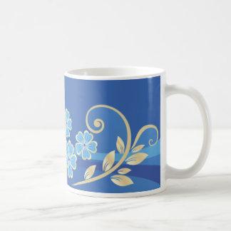Floral retro femenino lindo de las flores frescas taza de café