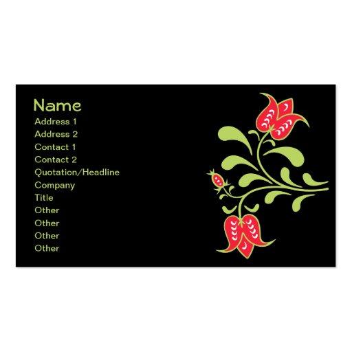 Floral retro femenino lindo fresco de la flor fina tarjetas de visita