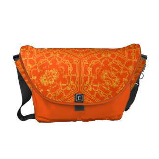 Floral Retro Orange tones  Messenger Bag
