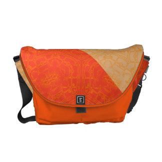 Floral Retro Vintage Orange Tones Messenger Bag
