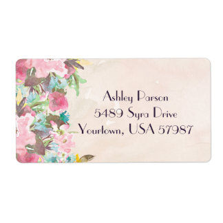 Floral return address label