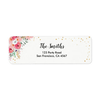 Floral Return Address Label Watercolor Pink Garden