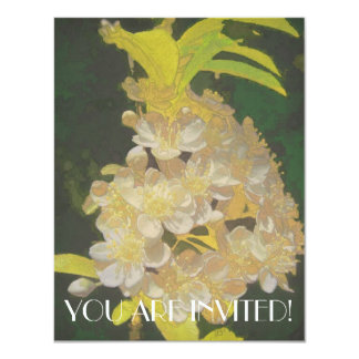 Floral Rhapsody in Gold and White 4.25x5.5 Paper Invitation Card