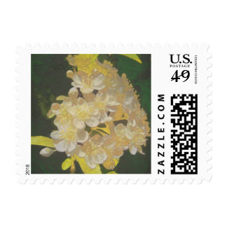 Floral Rhapsody In Gold and White Postage