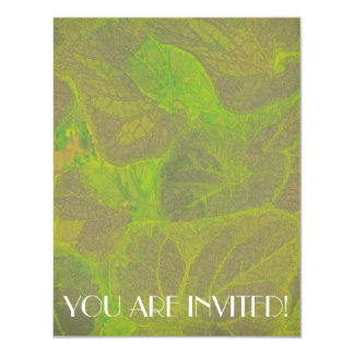 Floral Rhapsody in Green and Brown 4.25x5.5 Paper Invitation Card