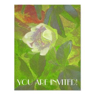 Floral Rhapsody in Green 4.25x5.5 Paper Invitation Card