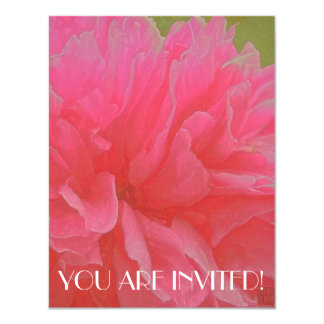 Floral Rhapsody in Magenta and Red 4.25x5.5 Paper Invitation Card