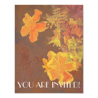 Floral Rhapsody in Orange and Yellow 4.25x5.5 Paper Invitation Card