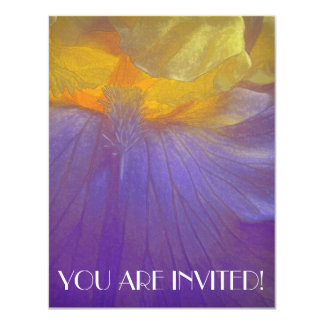 Floral Rhapsody in Purple and Yellow 4.25x5.5 Paper Invitation Card