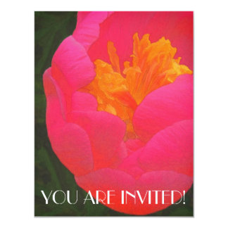 Floral Rhapsody in Red and Yellow 4.25x5.5 Paper Invitation Card