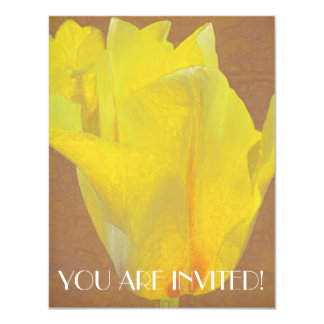 Floral Rhapsody in Yellow 4.25x5.5 Paper Invitation Card
