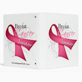Floral Ribbon Breast Cancer Survivor 3 Ring Binder