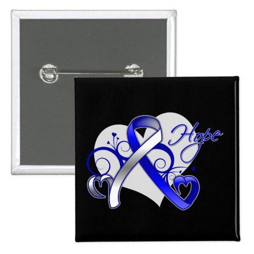 Floral Ribbon Hope - ALS Disease Button