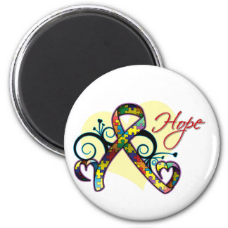 Floral Ribbon Hope - Autism 2 Inch Round Magnet