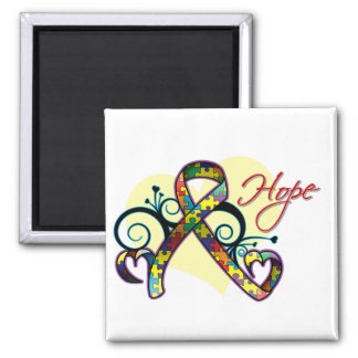 Floral Ribbon Hope - Autism 2 Inch Square Magnet