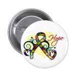 Floral Ribbon Hope - Autism Button