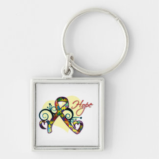 Floral Ribbon Hope - Autism Silver-Colored Square Keychain