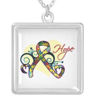 Floral Ribbon Hope - Autism Square Pendant Necklace