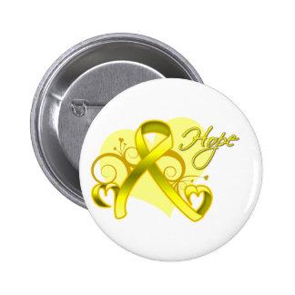 Floral Ribbon Hope - Bladder Cancer Buttons
