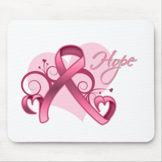 Floral Ribbon Hope - Breast Cancer Mouse Pad