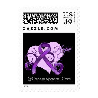 Floral Ribbon Hope - Epilepsy Awareness Postage Stamp