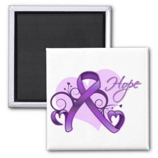 Floral Ribbon Hope - Epilepsy Fridge Magnet