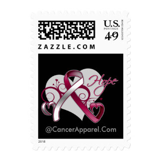 Floral Ribbon Hope - Head and Neck Cancer Postage Stamp