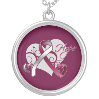 Floral Ribbon Hope - Head and Neck Cancer Round Pendant Necklace