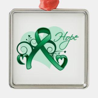 Floral Ribbon Hope - Liver Cancer Christmas Ornaments