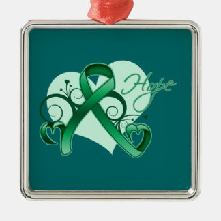 Floral Ribbon Hope - Liver Cancer Christmas Ornament
