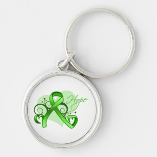 Floral Ribbon Hope - Lyme Disease Silver-Colored Round Keychain