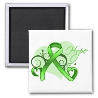 Floral Ribbon Hope - Lymphoma Fridge Magnets
