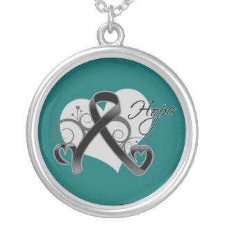 Floral Ribbon Hope - Melanoma Round Pendant Necklace