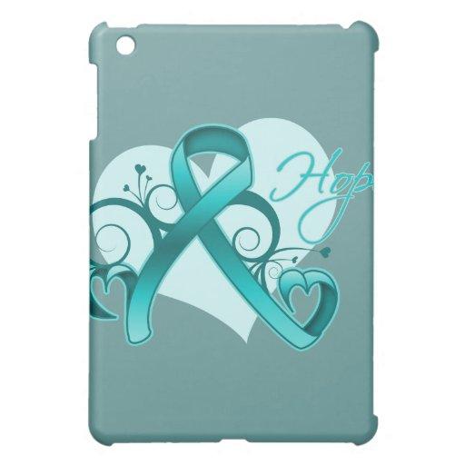 Floral Ribbon Hope - Ovarian Cancer Cover For The iPad Mini