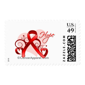 Floral Ribbon Hope - Stroke Postage Stamp