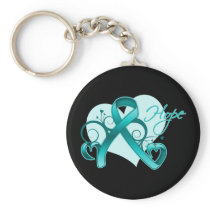 Floral Ribbon Hope - Teal Ribbon Basic Round Button Keychain