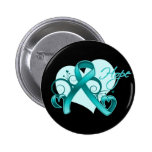 Floral Ribbon Hope - Teal Ribbon Button