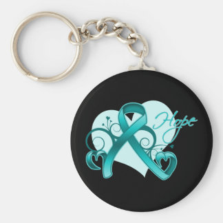 Floral Ribbon Hope - Teal Ribbon Keychain