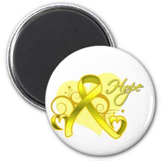 Floral Ribbon Hope - Testicular Cancer Refrigerator Magnets