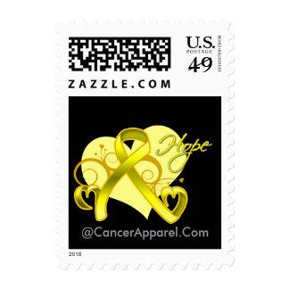 Floral Ribbon Hope - Testicular Cancer Postage Stamp