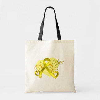 Floral Ribbon Hope - Testicular Cancer Tote Bags