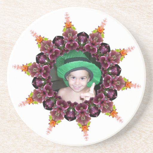 Floral Ring Kaleidoscope Mandala Photo Frame Drink Coaster