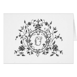 """Floral Ring """"O"""" Stationery Note Card"""