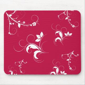 Floral rojo alfombrillas de raton