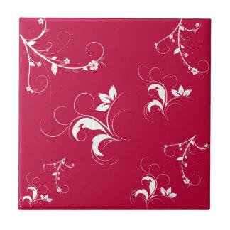 Floral rojo azulejo cuadrado pequeño