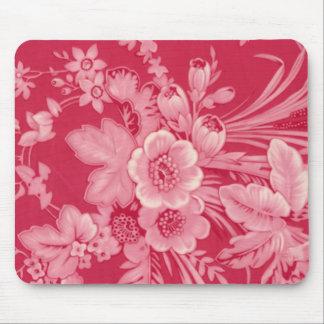Floral rojo de la frambuesa del vintage alfombrillas de ratón