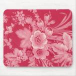 Floral rojo de la frambuesa del vintage tapetes de ratones