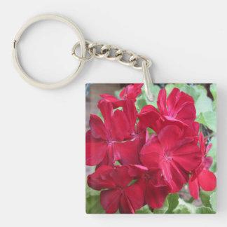 Floral rojo de la planta del geranio llavero cuadrado acrílico a doble cara