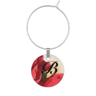 Floral rojo del monograma identificadores de copas