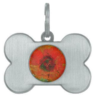 Floral rojo delicioso del campo 13 de la amapola placa mascota